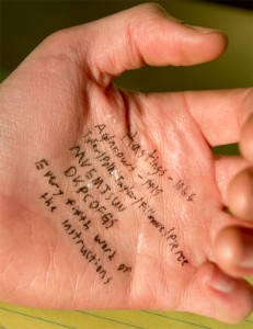 crib notes on hand